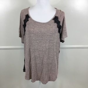 Lane Bryant Pink Black Lace Inset Knit Top 18/20